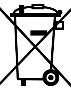 Symbol:Do not put appliances in the dustbin.
