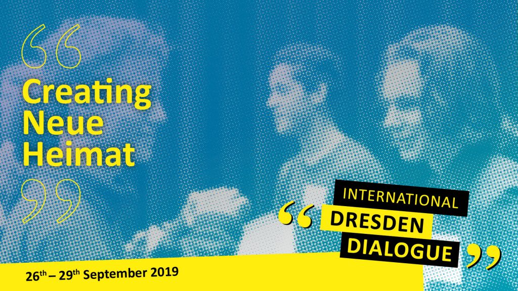 "Logo graphic in yellow colour and the title of the International Dresden Dialogue ""Creating Neue Heimat"""