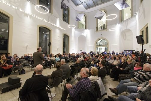 "Organised public debate in the Dresden Transport Museum on the 16th of February 2017 on the question: ""Is this art? Citizens forum on the art projects ""Monument"" and ""Lampedusa 361""""."