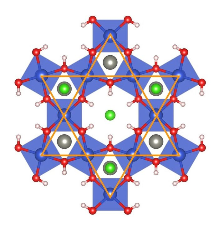 "Lattice structure of ""Herbertsmithite"", a material with excellent conductivity that could provide important developments in microelectronics in the future"