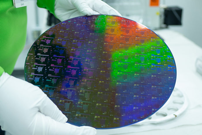 A semiconductor wafer produced by the semiconductor company Globalfoundries